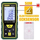 Laser Entfernungsmesser Distanzmessgerät 50m TECCPO, Elektronischer Winkelsensor, m/in/ft/ft+in, Stummschaltung, 30 Datenspeicher, Entfernung, Fläche, Lautstärke, Pythagore-Messung, Winkel, IP54