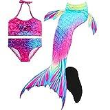 Meerjungfrauenschwanz zum Schwimmen mit Meerjungfrau Flosse-Prinzessin Cosplay Bademode für Das Schwimmen mit Bikini-Set, 4 Stück
