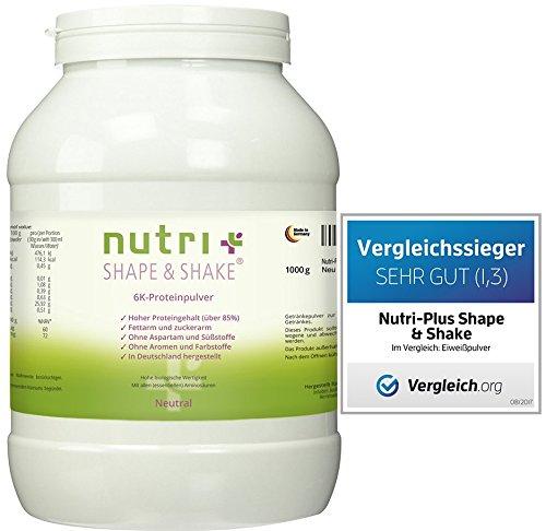 Proteinpulver Neutral 1kg (TESTSIEGER Eiweißpulver-Test 2017) - Nutri-Plus Shape & Shake - ohne Aspartam, Aromen und Süßstoffe - Mit Whey & Casein