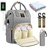 OUSI Baby Wickelrucksack Wickeltasche, multifunktionale wasserdichte Babytasche für Mama und Papa, Oxford Windelrucksack mit USB-Ladeanschluss, Kinderwagengurte, Wärmetaschen und Kindertuch - grau