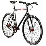 Chill Singlespeed 700c Fixie Bike Retro Fahrrad Fitnessbike Fixie 28' Rennrad (schwarz/rot, 59 cm)
