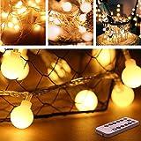 Opard Lichterkette, 50 LED Globe Lichterkette Warmweiß 5M 8 Modi Fernbedienung Zeitschaltuhr 20 Clips Batteriebetriebene IP44 Wasserdicht, Ideal für Innen und Außen Weihnachtsdeko usw