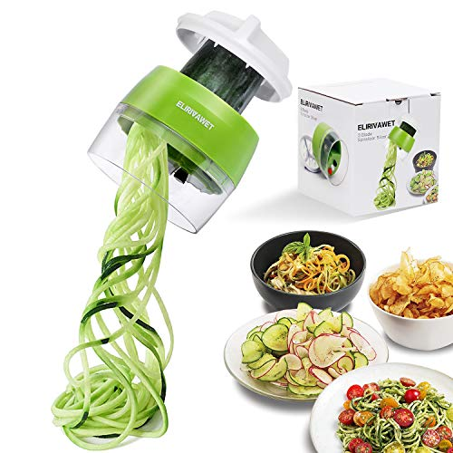 ELIRIVAWET Spiralschneider Hand für Gemüsespaghetti, 4 in1 Gemüse Spiralschneider, Gemüsehobel für Karotte, Gurke, Kartoffel,Kürbis, Zucchini, Zwiebel