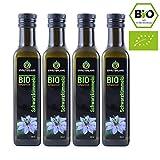 BIO Schwarzkümmelöl BIO • 4x 250 ml • gefiltert • kaltgepresst • ägyptisch • 100% naturrein • Frischegarantie: täglich mühlenfrisch direkt vom Hersteller Kräuterland Natur-Ölmühle