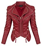 Rock Creek Damen Kunstleder Jacke Übergangs Jacke Leder Optik Bikerjacke D-365 [WS-967 WineRed XL]