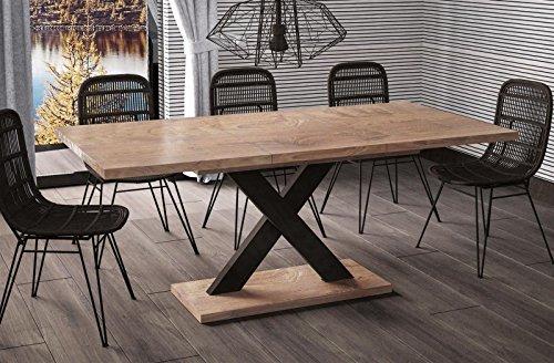 Esstisch Mila ausziehbar 130cm - 180cm Nussbaum Küchentisch Design bi colour Säulentisch