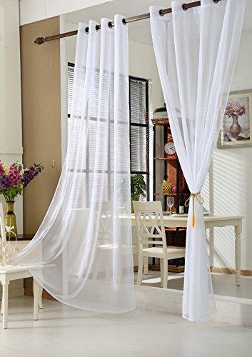 WOLTU VH5510ws-2, 2er Set Gardinen Vorhänge transparent mit Ösen Stores, Doppelpack Ösenvorhang Fensterschal Voile für Wohnzimmer Schlafzimmer Landhaus, 140x245 cm Weiß