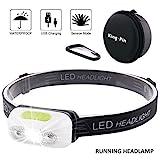 LED Stirnlampe Kopflampe USB Wiederaufladbare Wasserdicht Leichtgewichts Mini Stirnlampe 7 Leuchtmodi Perfekt fürs Laufen Jogging Campen Radfahren (LED Stirnlampe Sensor Induktion Weißes Licht)