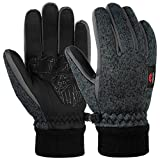 Vbiger Touchscreen Handschuhe Fleece Handschuhe Winterhandschuhe Warme Handschuhe Sporthandschuhe, Dunkelgrau, L