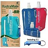Faltbare, wiederverwendbare Wasserflasche. BPA-frei, 750ml. HydraMate Leichte, umweltfreundliche, nachfüllbare Flasche mit Sportverschluss und hygienischem Deckel. Mit Karabiner und Flaschenöffner! (Multi 3 Pack, 3 Pack x 750ml)