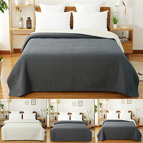 WOLTU #673, Tagesdecke Bettüberwurf Steppdecke Patchwork Flanelle Wendedesign kariert, Bettdecke Stepp Decke Doppelbett unterfüttert und gesteppt