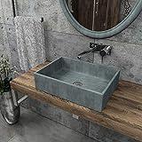 KERABAD Design Betonwaschbecken Waschtisch Aufsatzwaschbecken Waschschale aus Beton Grau rund 47x33x12cm KB-B506