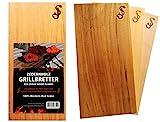 Räucherbretter im 3er Set aus reinem Zedernholz von 'SJ' - Grill-Bretter zum Grillen aus Red Cedar - 100% natürliche Aroma Holz Planken, Räucherplanke/Grillplanken zum Veredeln von Grillgut
