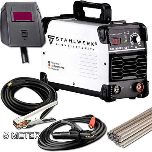 STAHLWERK ARC 200 ST IGBT - Schweißgerät DC MMA/E-Hand Welder mit echten 200 Ampere sehr kompakt, weiß, 5 Jahre Herstellergarantie