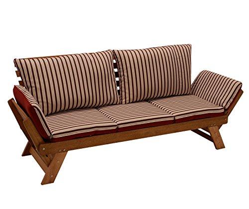 Garten - Liegesofa TIROL 202cm mit klappbaren Seitenlehnen, Eukalyptusholz, mit Wendeauflage rot beige, FSC-zertifiziert