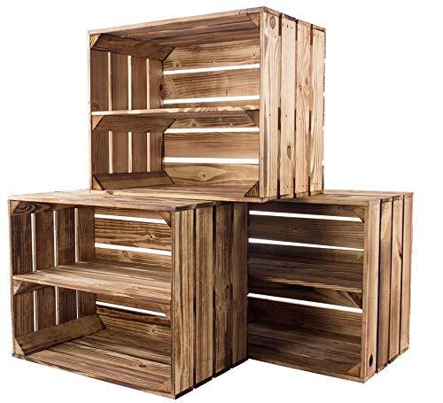 Kontorei gebrannte/flambierte Obstkiste mit Zwischenboden 50cm x 40cm x 30cm 3er Set Regal Holzregal Kiste Box