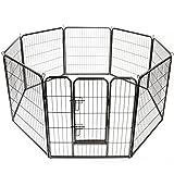 TRESKO Welpenlaufstall Freilaufgehege Welpenauslauf Hundelaufstall Tierlaufstall Hunde, mit Tür und wetterfester Hammerschlag-Lackierung