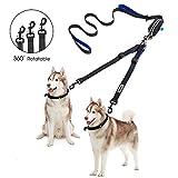 YOUTHINK Doppelleine Hundeleine für 2 Hunde Keine Verwicklung Reflektierend Hundeleine Doppelte gepolsterte Griffe Verstellbar Splitterleinen, mit kotbeutelspender für Hunde bis zu 180 lbs