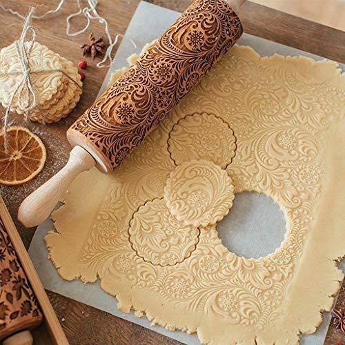 AmyGline Teigroller Nudelholz Muster Prägerolle Holz 3D Prägung Teigausroller Backzubehör mit Blumen und Schneeflocken