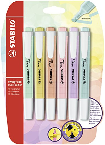 Textmarker - STABILO swing cool Pastel Edition - 6er Pack - 6 Farben