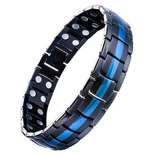 Jeracol Herren Magnetisch Therapie Armband Doppel Starker Magnet Blau & Schwarz Gesundheit Link für Arthritis Schmerzlinderung mit Entfernen Werkzeug