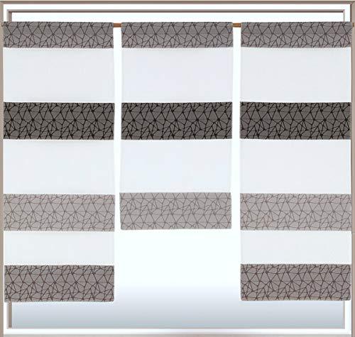 Decocompany Home Design Mini Flächenvorhang Set anthrazit 2292 | mit Muster | 3 Teile | Scheibengardine Gesamtbreite 90cm (3x30cm) Höhe 80/60/80cm