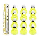 Yokunat 12 Stücke Badminton Bälle Durable Nylon Shuttlecocks Ausbildung Kunststoff Badminton Bälle mit Große Stabilität und Haltbarkeit für Indoor Outdoor Sports (Gelb)