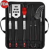 Homemaxs Grillbesteck Set – 5-Teilig Grillzubehör aus Edelstahl: Grillzange, Grillgabel, Pinsel, Grillwender und Grillbürste inkl. Tragetasche (FDA)