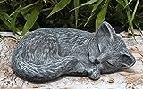 Steinfigur Katze schlafend in Schiefergrau, Figur, Deko, Grabschmuck, Gedenkstein