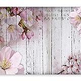 murando - Fototapete selbstklebend Blumen 343x256 cm decor Tapeten Wandtapete klebend Klebefolie Dekofolie Tapetenfolie - Blume rosa pink Holz Bretter b-A-0202-a-b