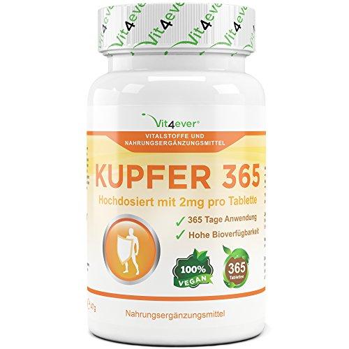 Kupfer 365 - 2 mg elementarem Kupfer pro Tablette - 365 Tabletten - Vegan - Hohe Bioverfügbarkeit - Kupfergluconat - Vit4ever