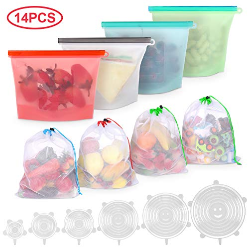 Joyoldelf 14PCS Silikonbeutel Wiederverwendbar Obst und Gemüse Beutel Gemüsebeutel Set mit Dehnbare Silikondeckel für Speicherung Fleisch Supp Milch Snacks