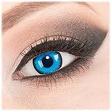 Farbige 'Alper' Kontaktlinsen von 'Evil Lens' zu Fasching Karneval Halloween 1 Paar Blau Crazy Fun mit Behälter in Topqualität mit Stärke -2,00