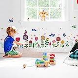 WandSticker4U- Wandtattoo bunte BLÜMCHEN | Wandbilder: 193x95 cm | Fenster-aufkleber Blumen Wiese Pflanzen Garten Frühling Wandsticker Vogel | Deko für Kinderzimmer Kinder Mädchen Schrank Tür