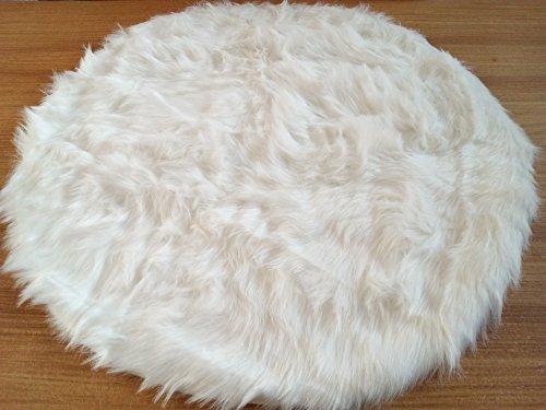 Flokati-Stil Hochflor Shaggy Teppich Ameiny Colours - In bunten Farben und kuschelweich (180 cm rund, Weiß)