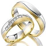 2 x 375 Trauringe Gold Bicolor Weißgold Eheringe Massiv Paarpreis LM.10.375 Weißgold Trauringe Paarpreis vom Juwelier Echtes Gold Verlobunsringe Wedding Rings Trouwringen