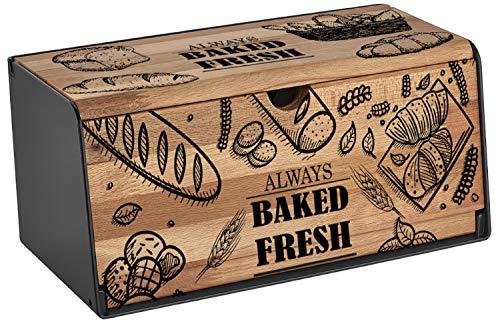 Brotkasten Holz | Brotbox | Brotkiste | Brot Aufbewahrungsbox | Brotkorb | Brotbehälter | Brotkiste | Frischhaltebox | Hochwertig verarbeitetes Holz | Großer Stauraum | 2 Öffnungsmöglichkeiten