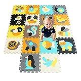 qqpp Puzzlematte 18 TLG. Kinderspielteppich Spielmatte Spielteppich Schaumstoffmatte Matte  Kälteschutz abwaschbar bunt phantasiefördernd QQP010014G301018