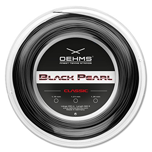 Oehms Black Pearl Classic | 200m-Rolle | Ø 1,18/1,23/1,26 mm | monofile Co-Polyester Tennissaite (1.18 mm)