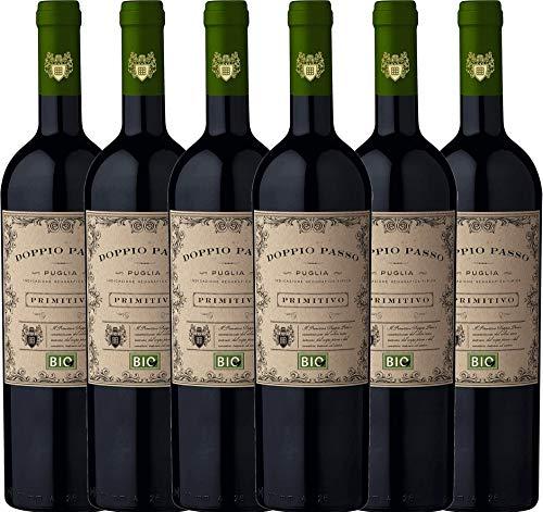 6er Paket - Doppio Passo Bio Primitivo Puglia IGT 2018 - CVCB mit VINELLO.weinausgießer | halbtrockener Rotwein | italienischer Bio-Wein aus Apulien | 6 x 0,75 Liter