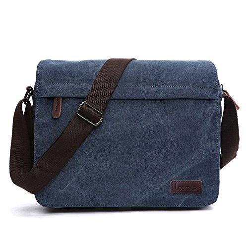 LOSMILE Herren Umhängetaschen , Leinwand Schultertaschen, Laptoptasche ,Schulranzen, für Schule und Arbeits,für Männer und Frauen. (L-Blau)
