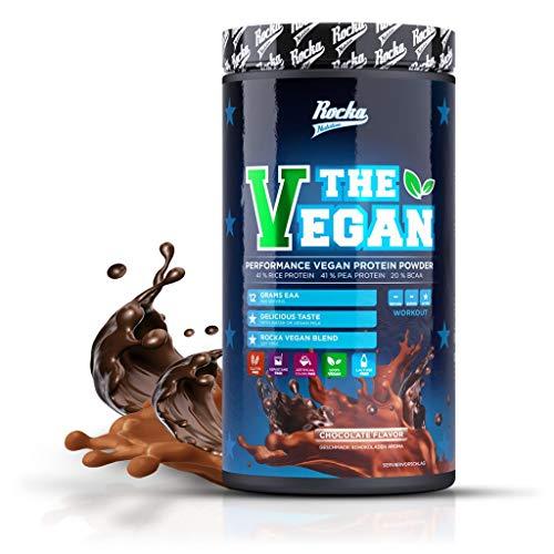 Rocka Nutrition Vegan Protein | Erbsenprotein + Reisprotein + 20% BCAA - Proteinpulver 1 kg (Chocolate Flavour)