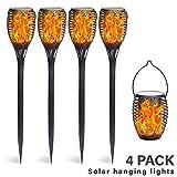 FLOWood Solar Gartenfackel realistischer Flammeneffekt 2 in 1 Solar Hängeleuchte für Garten Solar Gartenleuchte wetterfest ABS 4 Stück