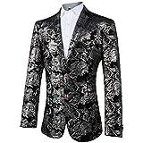 GOMY Slim Fit Herren Bunter Sakko Muster Casual Blazer Jacke Hochzeit Party (3XL, Silber)