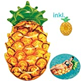XXL aufblasbare Ananas-Luftmatratze,extragroße aufblasbare Ananas, Badeinsel, für Pool, See, Strand, Meer, für Erwachsene + Jugendliche,+ 1x Ananas-Getränkehalter, Ananas-Luftmatratze (174 x 96cm)