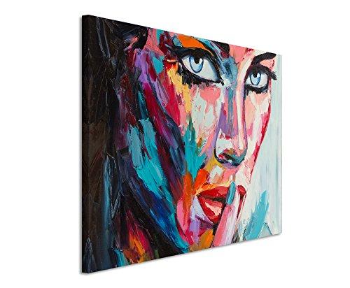 XXL Fotoleinwand 120x80cm Buntes modernes Ölgemälde – Frau mit blauen Augen auf Leinwand exklusives Wandbild moderne Fotografie für ihre Wand in vielen Größen