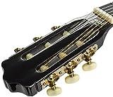NAVARRA Konzertgitarre 1/2 STARTER SET schwarz mit cremefarbigen Randeinlagen, incl. Tasche leicht gepolstert mit Rucksackriemen, Lehrbuch mit vielen Hits und CD, Cliptuner (Stimmgerät) mit LCD-Nadelanzeige mit Hintergrundbeleuchtung, 2 Plektren