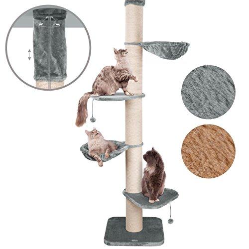 Happypet Premium Kratzbaum, GIANT TOWER I, für große schwere Katzen (Main Coon), 8mm Sisal, 17cm Säulen, 45cm Liegemulde, bis 275cm Deckenhoch GRAU