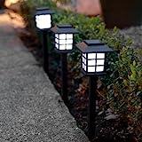 Lights4fun Set Solar Laterne Stableuchte mit Erdspieß