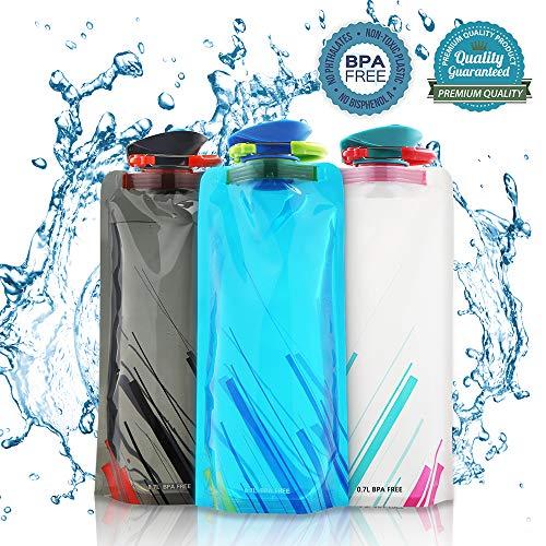 Nasharia 700ML Faltbare Wasserflaschen Set von 3 ━ BPA Frei, Wiederverwendbar Trinkrucksäcke für Wandern,Abenteuer,Reisen,Bergsteigen,Camping usw.